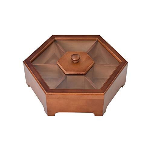 Zchui - Caja de frutas secas de madera, contenedor de almacenamiento| Bandeja aperitivos con transparente en la tapa | 7 compartimentos servir para sala de estar y mesa, No nulo, Madera, Tamaño libre