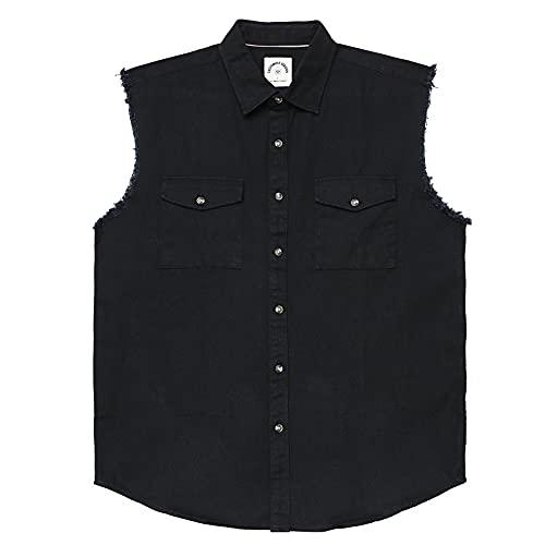 Chaleco de mezclilla sin mangas para hombre con botones, Negro, 4X-Large