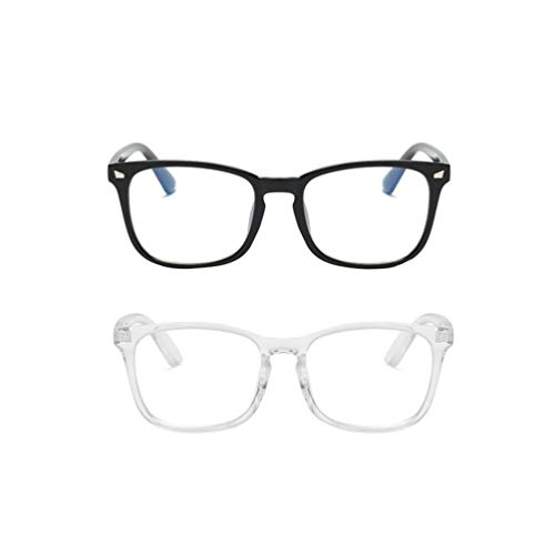 TENDYCOCO 2 Stück Anti-Blend-Gaming-Brille Blaulicht-Schutzbrille Computerspiel Brille Brillengestell für Frauen (Transparent Schwarz)