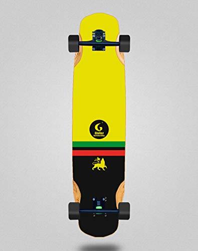 Skateboard Longboard Complete Mix Bamboo 38x8.45 Glutier Flame Rasta