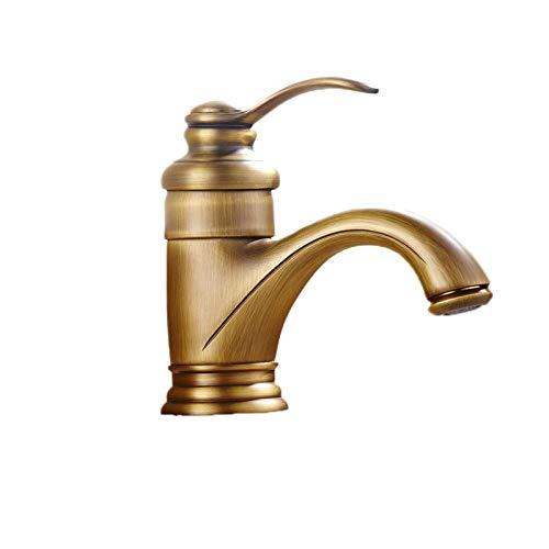 XVXFZEG Un grado de latón sola manija del grifo del lavabo, del hogar de oro for lavamanos, baño caliente encima de la Cuenca del contador de agua fría y grifo de mezcla, cepillado de la superficie de
