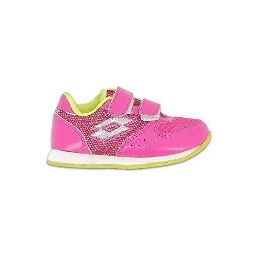 Lotto Unisex-Baby Record III Inf S Sneaker, Rojo/Plateado (Fux Lt/SLV Mt), 22
