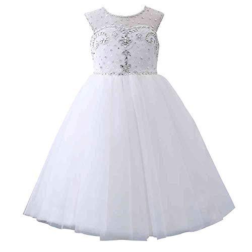 Castle Fairy Princess Girl Ball Gowns Sweetheart Beading Long Flower Girls Pageant Dresses (10, White)