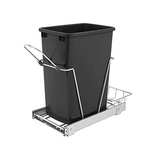Rev-A-Shelf RV-12KD-18C S 35-Quart Chrome Wire Bottom Mount Pullout Kitchen Waste Trash Can Container Bin with Rear Storage, Black