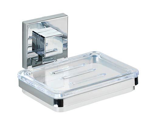 WENKO Vacuum-Loc® Seifenablage Quadro - Seifenschale, Befestigen ohne bohren, Edelstahl rostfrei, 12 x 6.5 x 12 cm, Glänzend