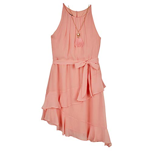 Amy Byer Girls' Sleeveless Dress with Asymmetrical Hem, Apricot, 16
