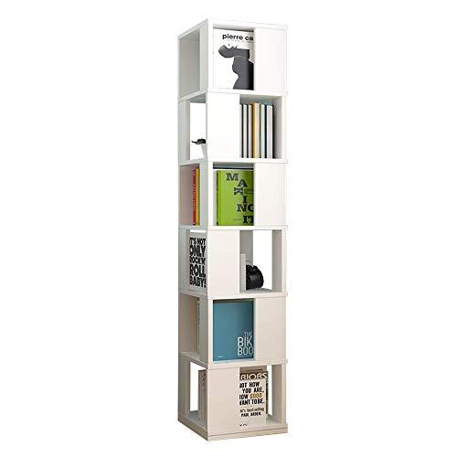 XiaoDong1 Libreria Girevole a 6 Ripiani in Legno ad Angolo Espositore e scaffale portaoggetti Libreria Alta Slimline L. (Color : White)