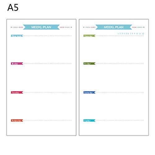 Xuebai 6 Gaten Refill Inner Papier Dagboek Week Maand Planner voor A5 Losse Blad Notebook Refill Inner Papier B #