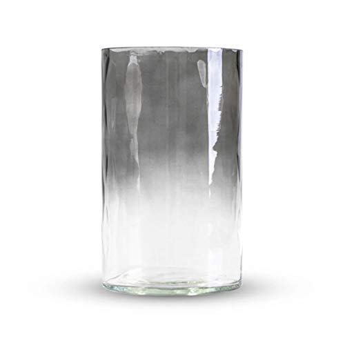 Black Velvet Studio Vase Fleurs en Verre cylindrique Pretty Flowers, élégant et Moderne, 20 cm de Hauteur x 12 cm de diamètre, Belle Couleur Gris dégradé.