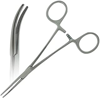 """HTI BRAND Premium Quality Kelly Hemostat Forceps Pliers 5.5"""" (14cm), Curved, Stainless Steel (Pack of 10)"""