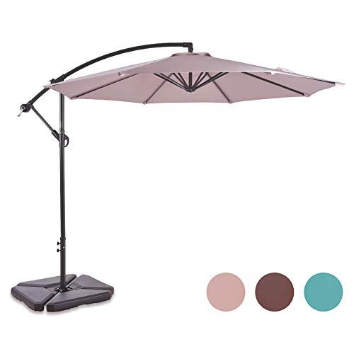 ALLURVEN 10 Feet Aluminum Offset Patio Umbrella,8 Steel Ribs,100% Polyester Canopy(Beige)