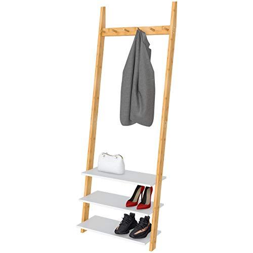 Garderobe Garderobenständer Kleiderständer Schuhregal Holz mit 3 schuhablagen 6 Garderobenhaken aus Bambus, 63x45x175cm