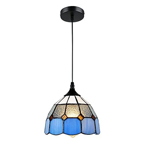 Rayofly Lámpara de techo Tiffany con pintura de cristal E27, lámpara de techo para casa de granja, restaurante, loft, cocina, cafetería, tienda, candelabro, mesa de comedor, retro, lámpara de techo