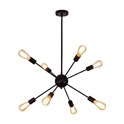 Black Light Fixture Sputnik Chandeliers 8 Lights Industrial Pendant Lighting Dining Room Kitchen Island Bedroom Light
