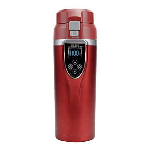 電気ケトル、350ML 12V車ケトルオートカー暖房カップ可変温度沸点マグポータブルステンレスミニ旅行ケトル,赤
