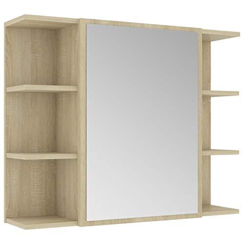 vidaXL Bad Spiegelschrank Badspiegel Badschrank Wandschrank Spiegel Wandspiegel Badezimmerschrank Schrank Sonoma-Eiche 80x20,5x64cm Spanplatte