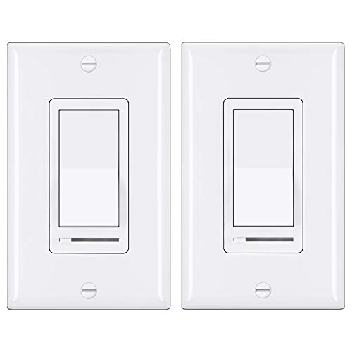 2 Pack BESTTEN Dimmer Light Switch Universal Lighting Control Single Pole or 3 Way Compatible with LED Dimmable Lamp CFL Incandescent Halogen Bulb Decorative Wallplate Included White