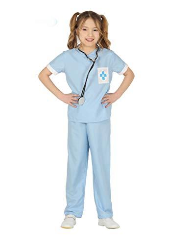 Generique - Tierarzt Kinderkostüm für Mädchen Berufe blau-Weiss 140/146 (10-12 Jahre)