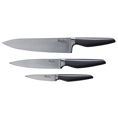 Ayesha Curry Cutlery Japanese Stainless Steel Knife Cooking Knives Set with Sheaths, 8 Inch Chef Knife, 6 Inch Utility Knife, 3.5 Inch Paring Knife, Charcoal Gray