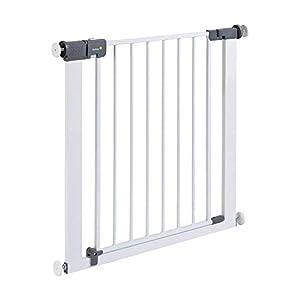 Safety 1st Rejilla para escaleras, cierre rápido, extraseguro, rejilla metálica para sujeción, 73-80cm, posibilidad de extensión hasta 136cm, extensible (a partir de 6-24meses), color blanco
