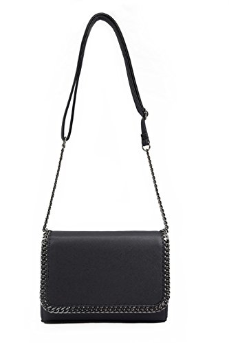 CRAZYCHIC - Piccola Borsa a Tracolla Spalla Catena Donna - Clutch Pochette Sera Saffiano PU Pelle Rigida - Borsetta Festa Quotidiana Ragazza Alla Moda - Messenger Crossbody Bag Casual - Nero