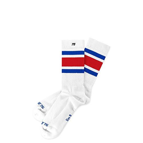Spirit of 76 Herren & Damen Sport Retro Skater Socken Baumwolle Halblang 39 40 41 42 Weiß - Blau - Rot Allstars Lo (M)
