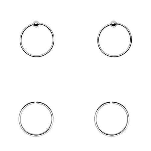 4 aros nariz finos, plata de ley 925, 9mm diámetro interior, 0,6mm grosor, 2 aros lisos sin cierre mas 2 aros con bola de cierre.
