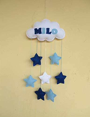 Baby Mobile Blau Weiß Wolke Sterne Filz Handgemacht Kinderzimmer