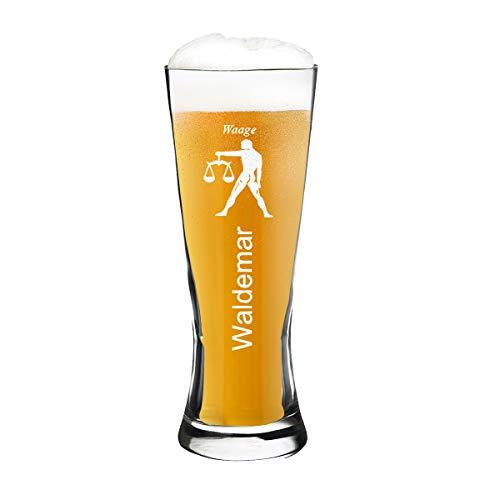 polar-effekt Modernes Weizenbierglas Personalisiert 0,5l mit Sternzeichen Gravur Waage und - Geschenk-Idee zum Geburtstag