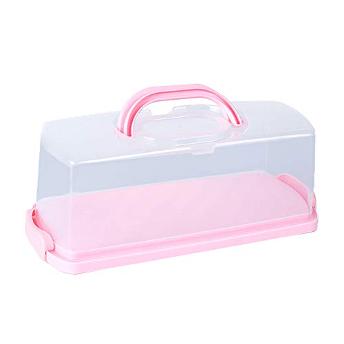 Portable Bread Box with Handle Loaf Cake Container Plastic Rectangular Food Storage Keeper Carrier 13inch Translucent Dome for Pastries, Bagels, Bread Rolls, Buns or Baguettes (Pink)