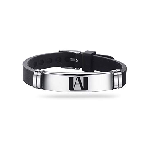 TAGOMEI Stainless Steel Bracelet Silicone Adjustable Wristband for Anime Fans(Silver)