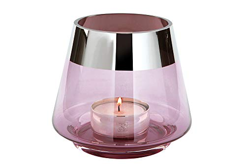 Fink Jona - Portavelas (cristal, 13 cm de altura, 15 cm de diámetro), color rosa claro