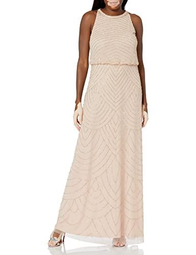Adrianna Papell Women's Halter Art Deco Beaded Blouson Dress, Blush, 10