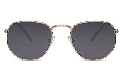 Cheapass Gafas de Sol Gafas Hexagonales Montura Dorada Cristales Gris Oscuro Hombre Mujer Protección UV400