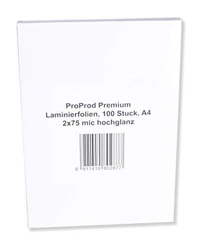PROPROD Premium Pack de 100 Pochettes de plastification A4 75 microns finition brillante Transparent