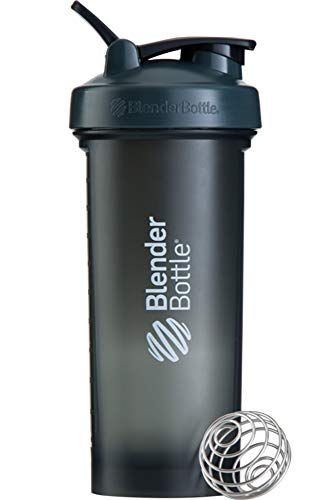 BlenderBottle Pro45 Shaker Cup | Protein Shaker cup | Diet Shaker | Water Bottle 45 oz | with BlenderBall | 1300 ml- grey/white