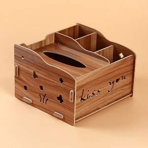 PINGGUO Creative Living Room Simple Caja de pañuelos multifunción de madera servilleta de papel toalla dispensador de pañuelos de escritorio Organizador de desechos