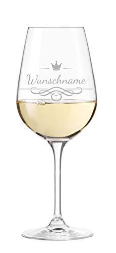KS Laserdesign Leonardo Weinglas mit Namensgravur - personalisiert mit Wunschname, Geschenkidee, Geburtstag, Weihnachten, Muttertag, Vatertag