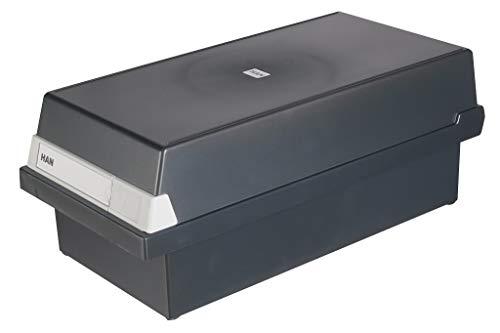 HAN Karteikasten A6 956-13 für 1.300 Karten, quer – Karteikartenbox in Schwarz mit großem Schriftfeld & inkl. 2 Stützplatten - simpel Ordnung halten