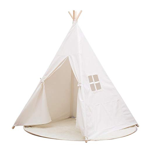 CSQ White Indian Teepee, Corner Decoration of Living Room, Baby's Play Tent Boy's Play Tent - Playhouse - Toy Hut - with Windows Children's play house (Color : White, Size : 120 * 120 * 145CM)