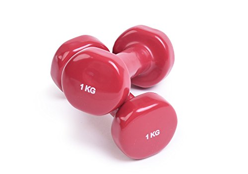 Par de mancuernas de estudio de yoga – Mancuernas de ejercicio para aeróbico/entrenamiento de fitness/yoga y pilates, color Rojo (1 kg)., tamaño 1 kg.