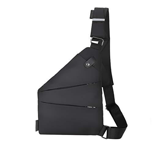 Vohoney Chest Bag Shoulder Bag Men's Bags PU Leather Chest Bag with USB Port Outdoor Sling Crossbody Bag Shoulder Backpack Water Resistant Carry Bag Shoulder Bag Messenger Bag
