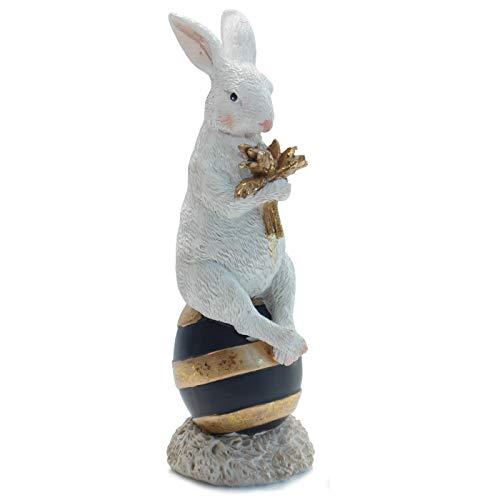 Osterhase auf Osterei Schwarz Weiß Gold Hase Vintage Figur Ostern Osterdekoration Deko 19,5 cm