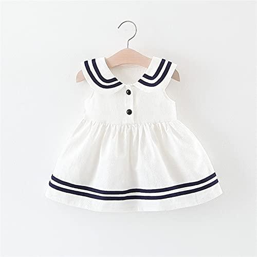 Zzx Ropa para niños Venta al por Mayor Niñas Faldas Summer Infant Niños Navy Wind Chaleco Falda Pequeño Virgen Virgin Baby Summer Princess Vestido (Color : White, Size : 73)