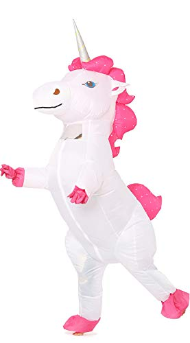 Inflatable Unicorn Costume Pony Horn Horse Suit for Halloween (White Large)