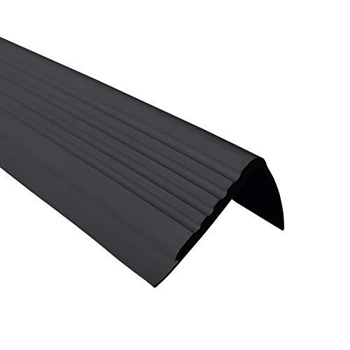 Anti-Rutsch Treppenkantenprofil für Treppenstufen Winkelprofil PVC Gummi PMW, 1.5 Meter, 48x42mm (schwarz)