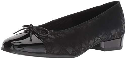 ARA Women's Bel Ballet Flat, Black Dragonfly/Patent Toe, 9 Narrow UK (11.5 US)