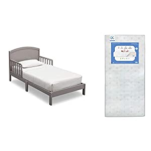 Delta Children Abby Toddler Bed, Grey + Delta Children Twinkle Galaxy Dual Sided Recycled Fiber Core Toddler Mattress (Bundle)
