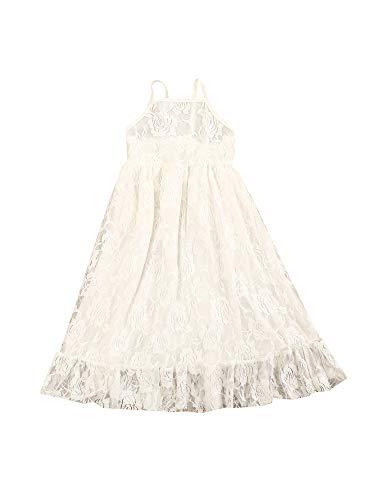 Grace&Nora Pequea nia 's dulce tirantes midi vestido de verano de moda de color slido de encaje costura de una lnea de vestido de princesa