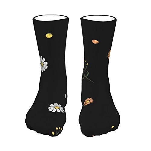 ZVEZVI Blumenfeld Kräuter Gänseblümchen Vintage Männer & Frauen Baumwolle Athletic Crew Socken Kissen lässig mit Feuchtigkeitstransport 40cm